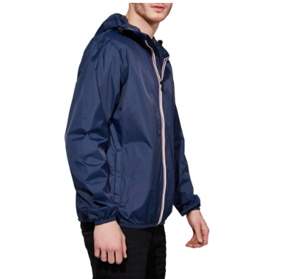 O8 Lifestyle Men's Navy Full Zip Packable Rain Jacket