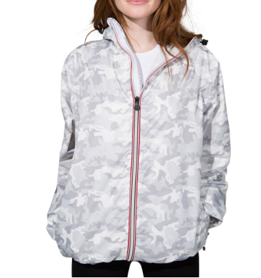 O8 Lifestyle Women's White Camouflage Full Zip Packable Jacket