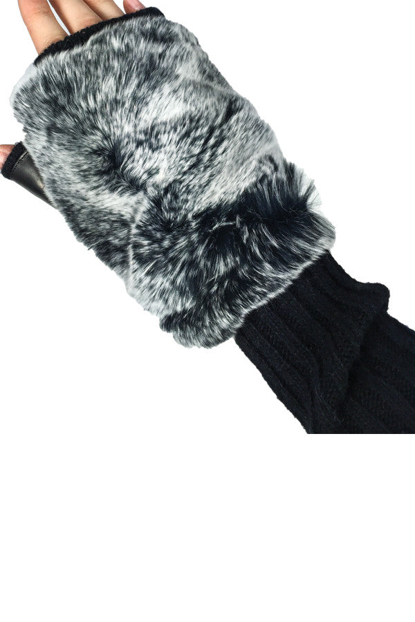 Glove Fingerless Cashmere & Snow Fur
