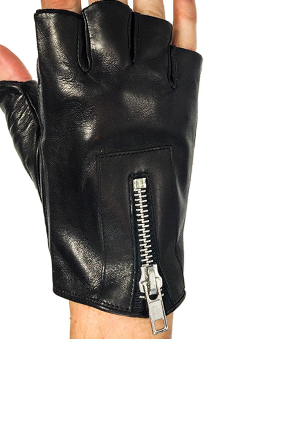 Glove Fingerless Leather w/ Zipper