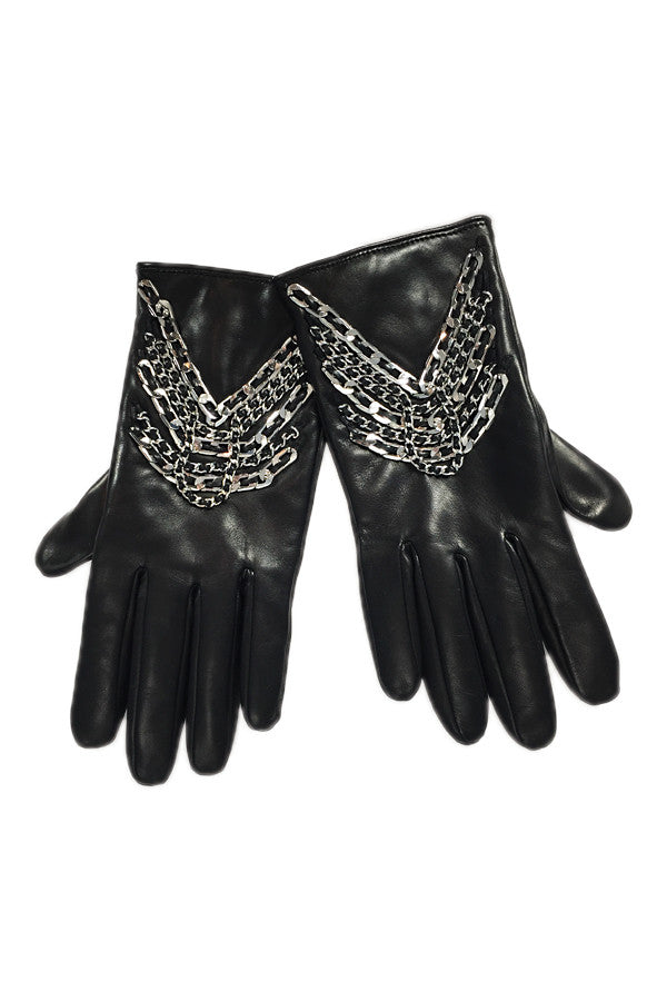 Glove Leather & Chain Black