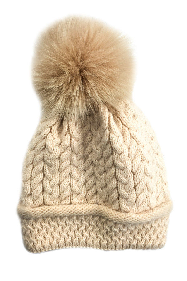 Hat Cable Knit Cashmere w/ Pom Pom