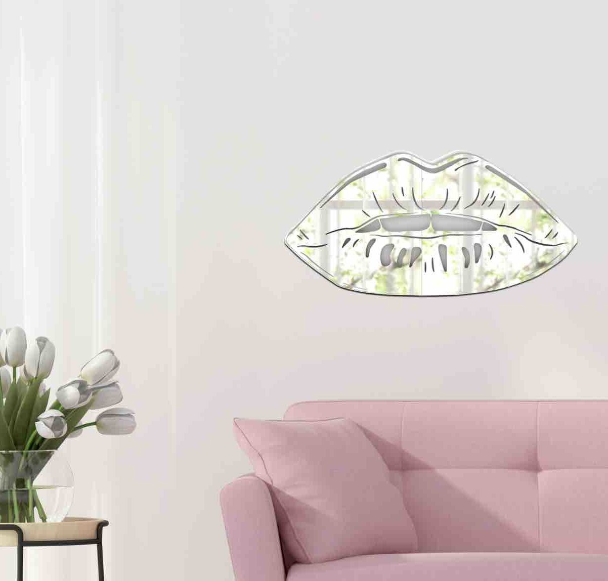 Silver Lips Sculpture Decor