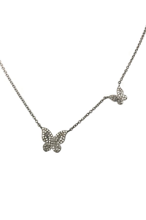 Silver Diamond Double Butterfly Necklace