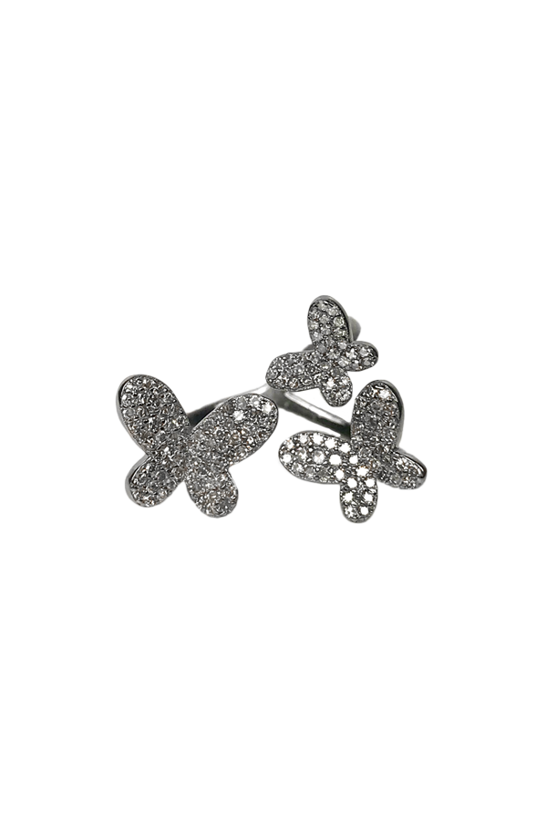 Oxidized Silver Triple Butterfly Ring
