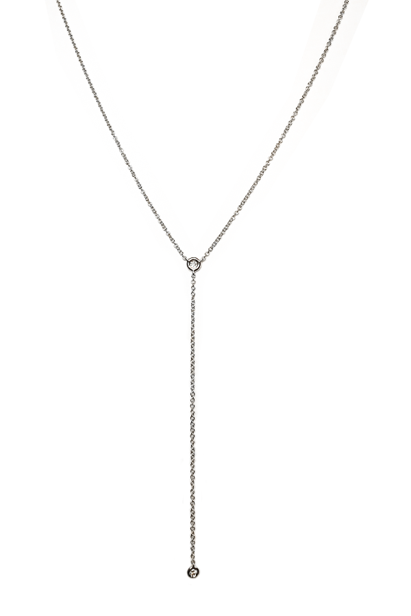 Single Diamond Lariat White Gold