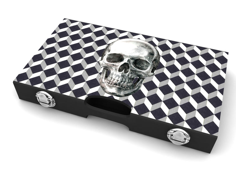 Lacquer Skull Backgammon Set Black