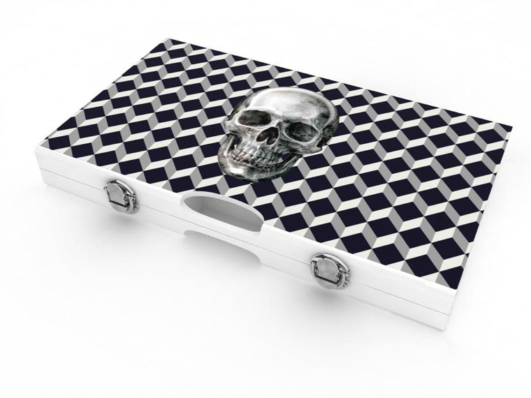 Lacquer Skull Backgammon Set White