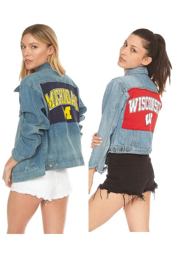 Denim Jacket with College T-Shirt Patch (Custom your College)