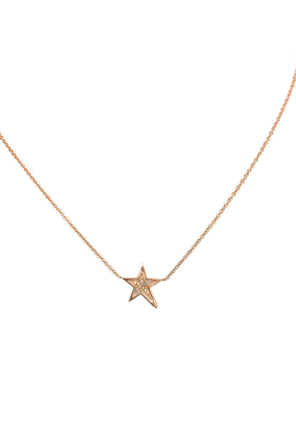 Rose Gold & Diamond Star Necklace
