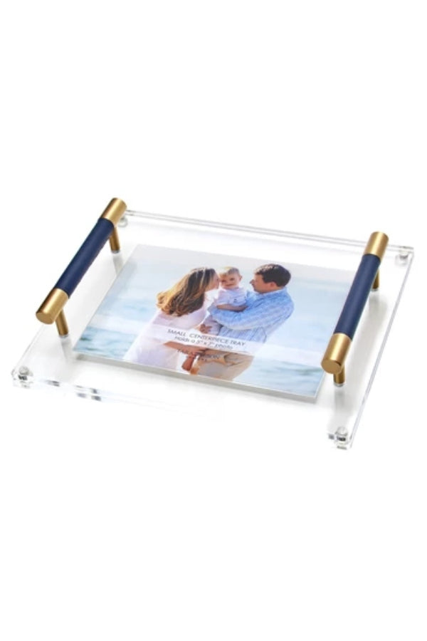 Small Centerpiece Photo Tray with Leather Handles (Navy or Nude)