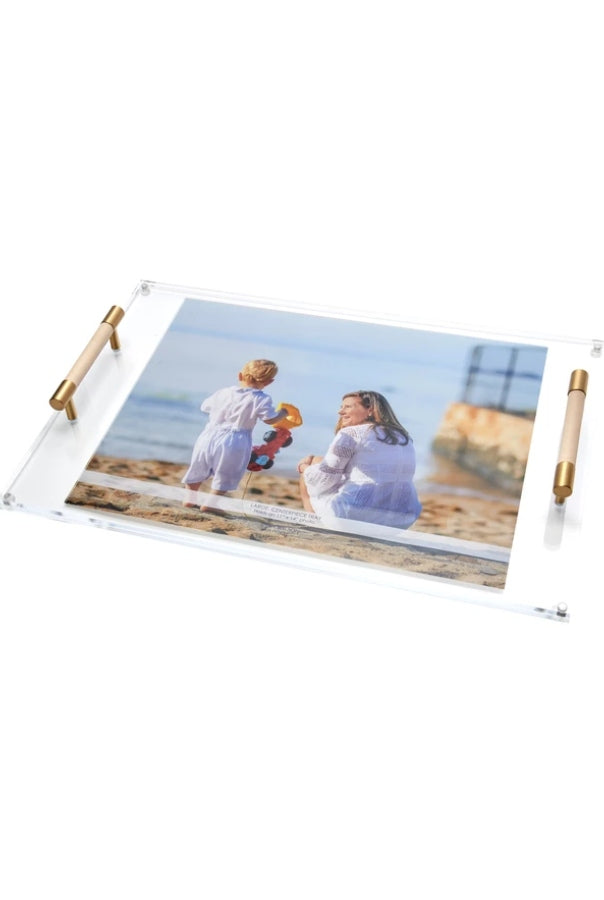 Large Centerpiece Photo Tray with Leather Handles (Navy or Nude)