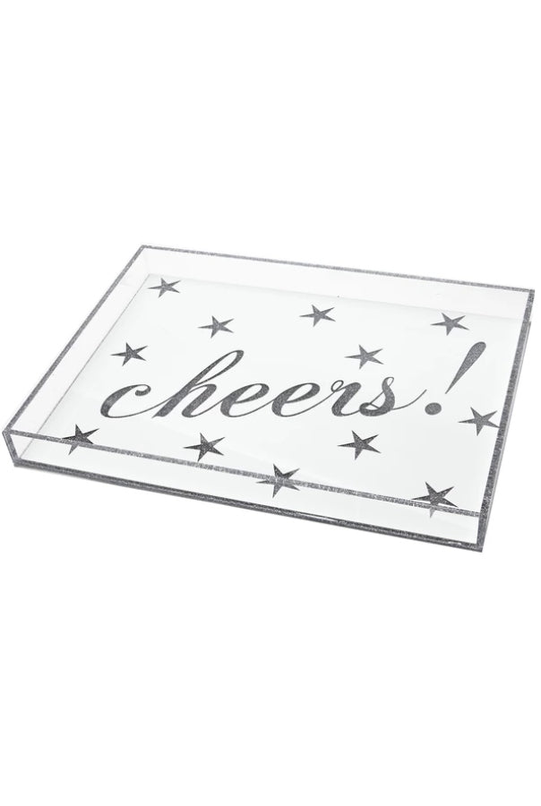 Cheers Large Lucite Tray (White/Silver)