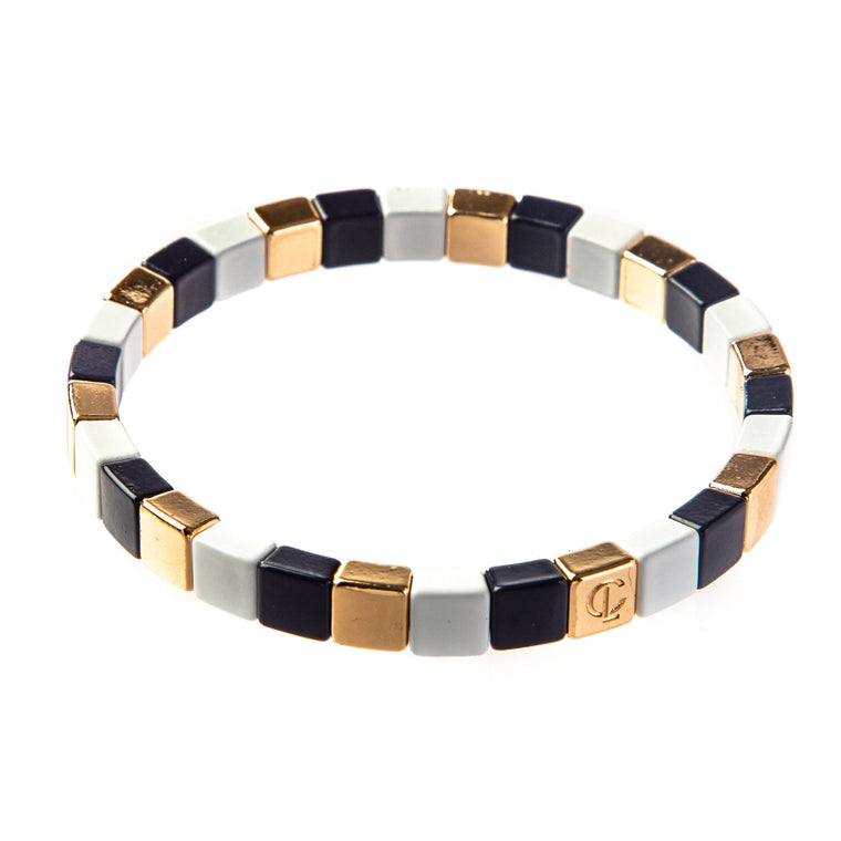 Caryn Lawn Navy, Gold & White Tiny Tile Bracelet