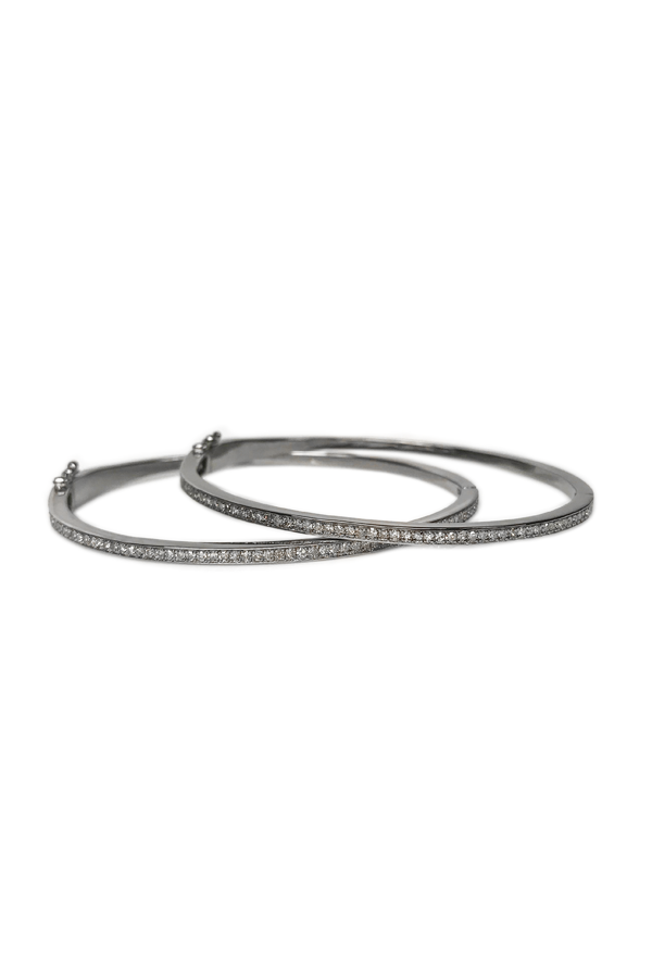 Silver Pave Diamond Thin Bangle