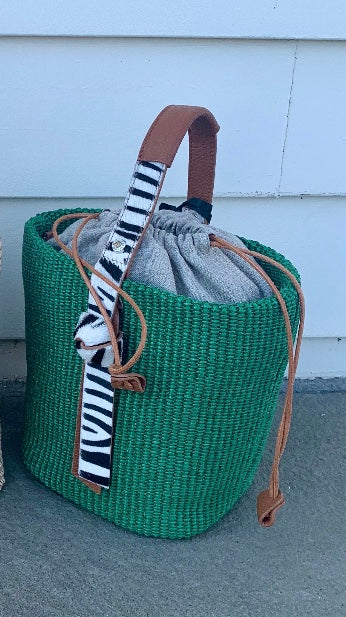 Roberta Gandolfi Green Bag with Zebra Print Handle
