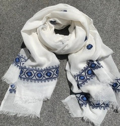 White with Blue on Blue Trimmed Scarf