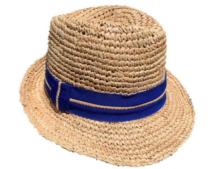 TracyWatts Natural Fedora with Cobalt Trim