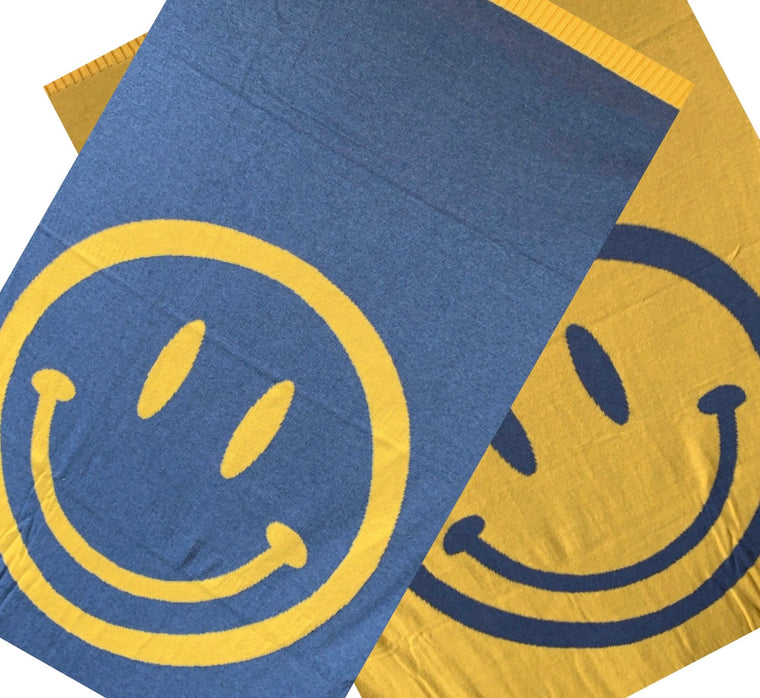 Smiley Face Denim/Yellow Blanket & Pouch Set