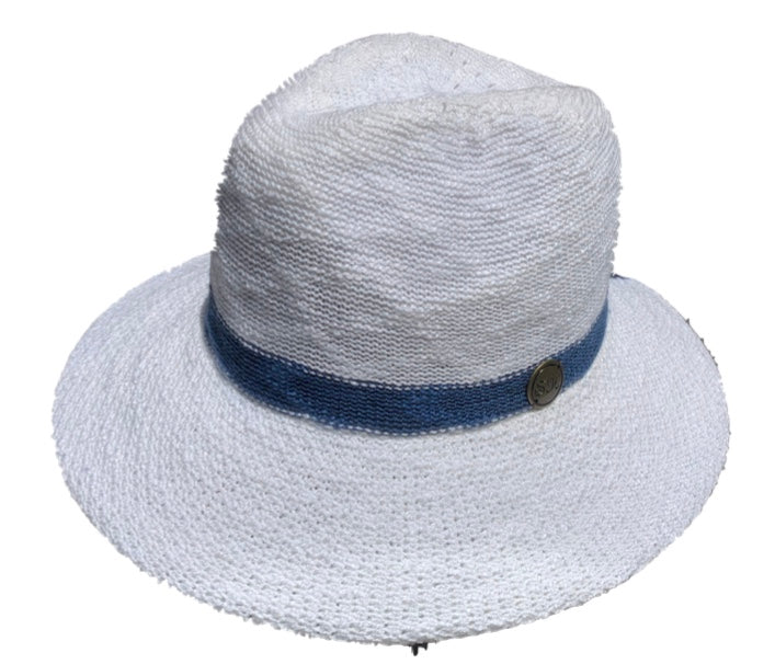 Shihreen White Fedora with Blue Trim