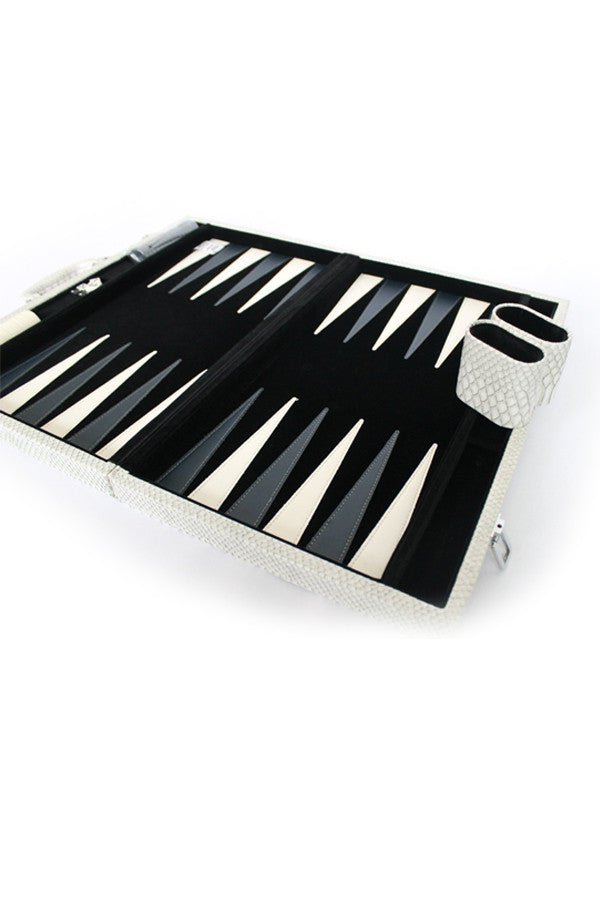 Backgammon Set Faux Crocodile
