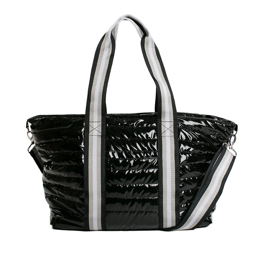 Think Royln Wingman Black Patent Nylon Tote