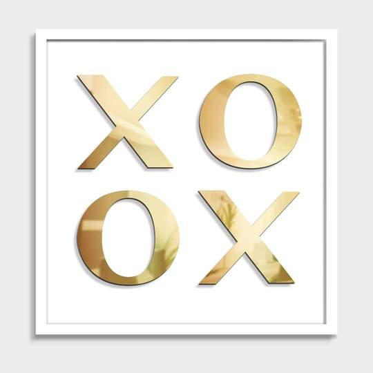 White & Silver or Gold XOXO Wall Sculpture
