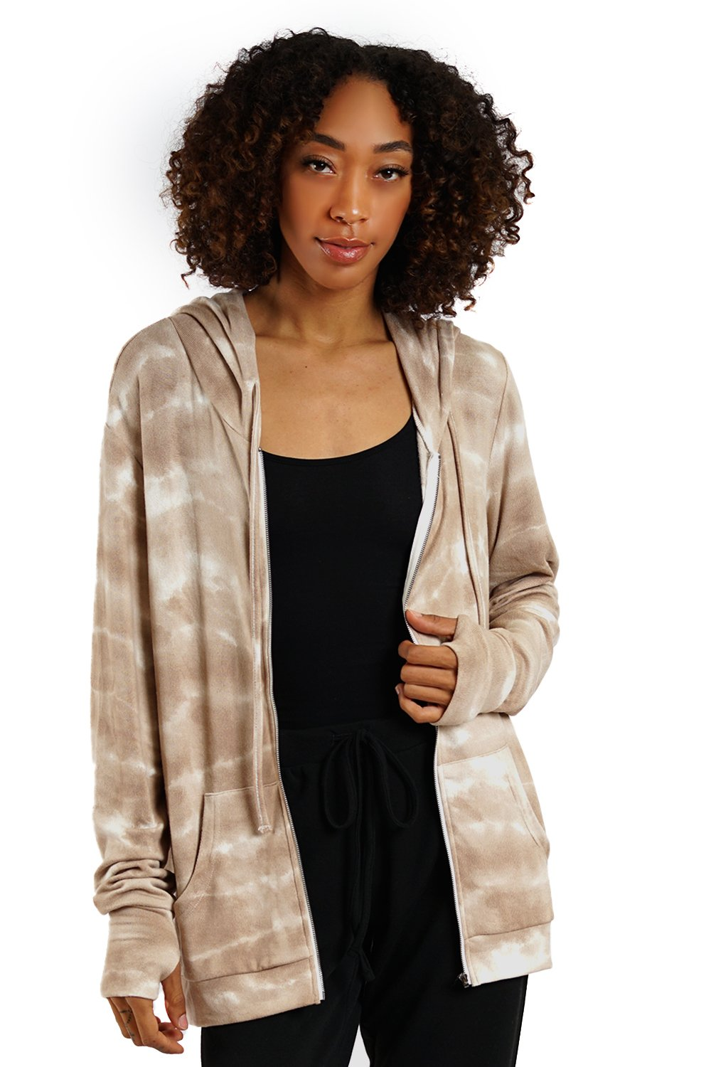 LA Trading Co Taupe Tie Dye Zip Up Hoodie