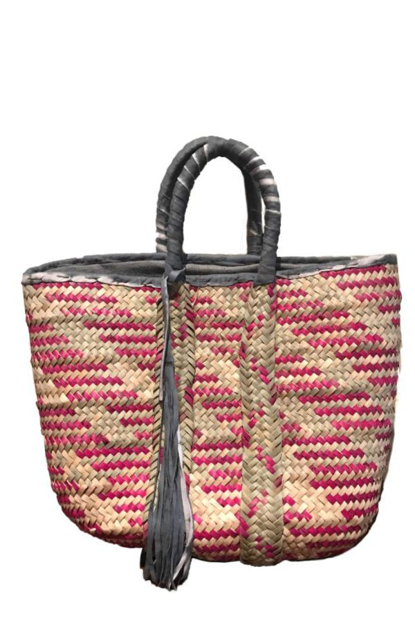 Straw Pink Striped Tote