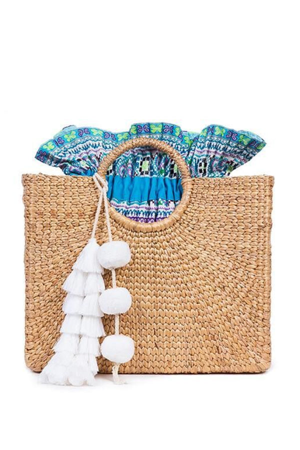 White Pom Pom Large Beach Basket