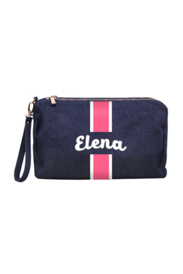 Denim Clutch/Pouch Script