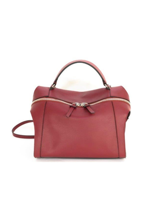 Small Bordeaux Leather Satchel