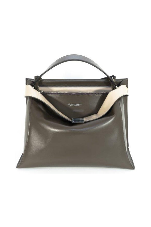 Taupe Leather Satchel