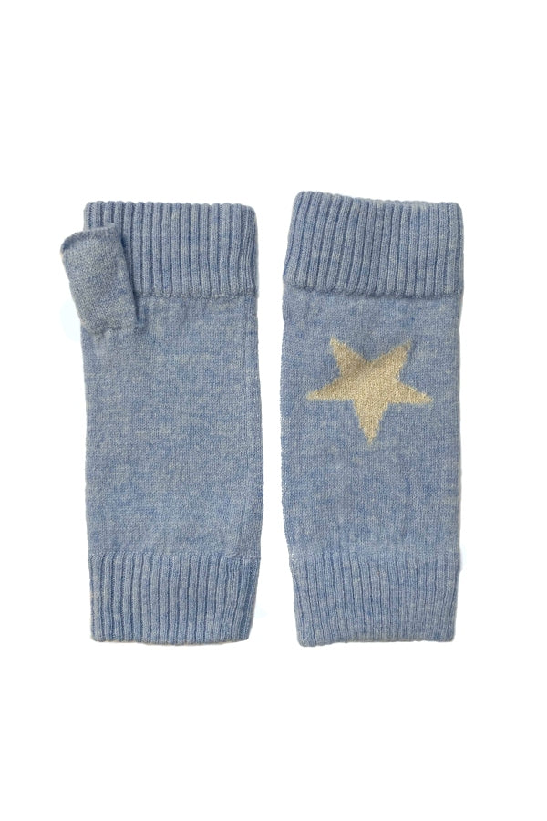 Blue Cashmere Star Wrist Warmer