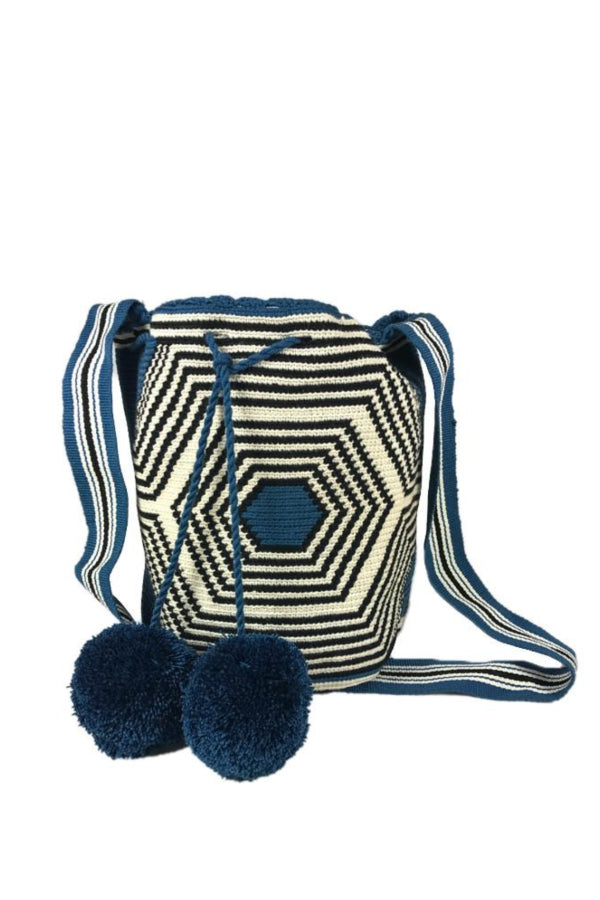 Blue & Black Woven Bucket Bag