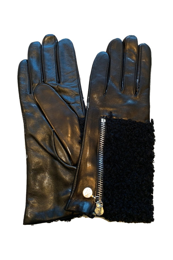 Glove Leather w/ Black Shearling & Zipper