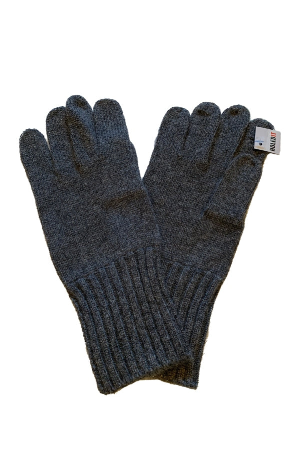 Carolina Amato Men's Charcoal Cashmere Tech Gloves