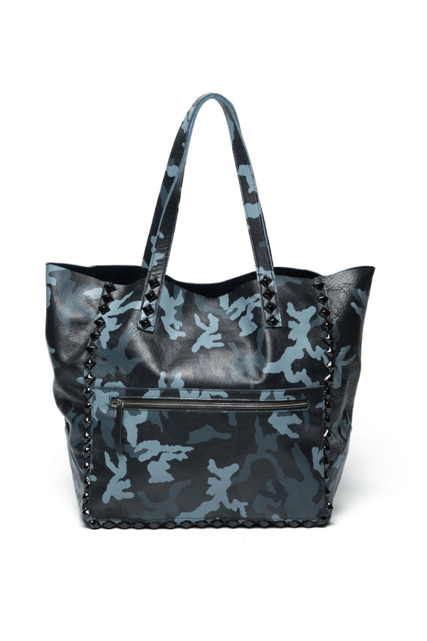 Miley Camo Studded Tote Navy