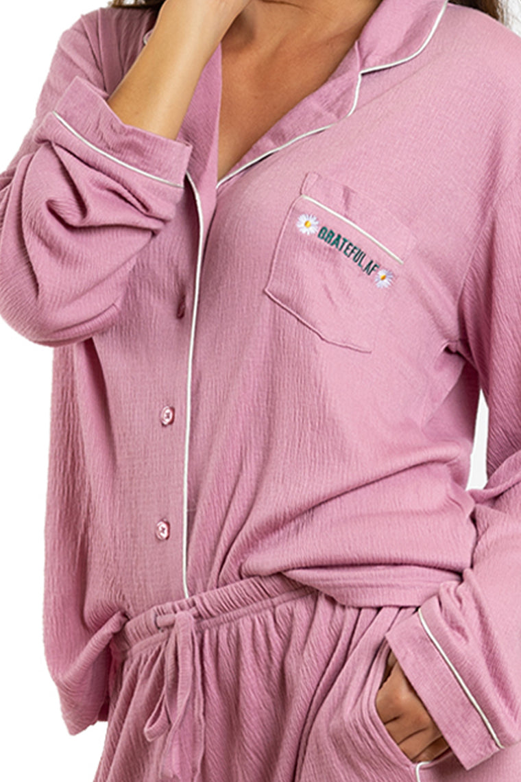 LA Trading Co Mauve Grateful AF Pajama Set