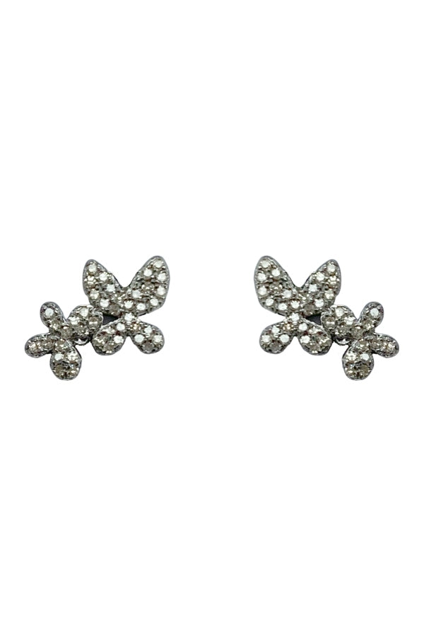 Silver Diamond Double Butterflies