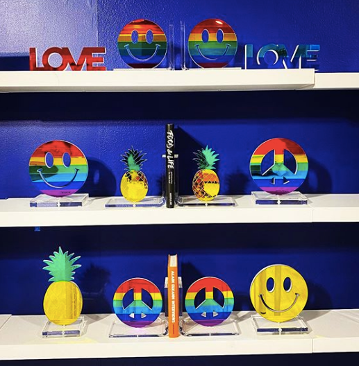 Rainbow Smiley Tabletop Sculpture or Bookends