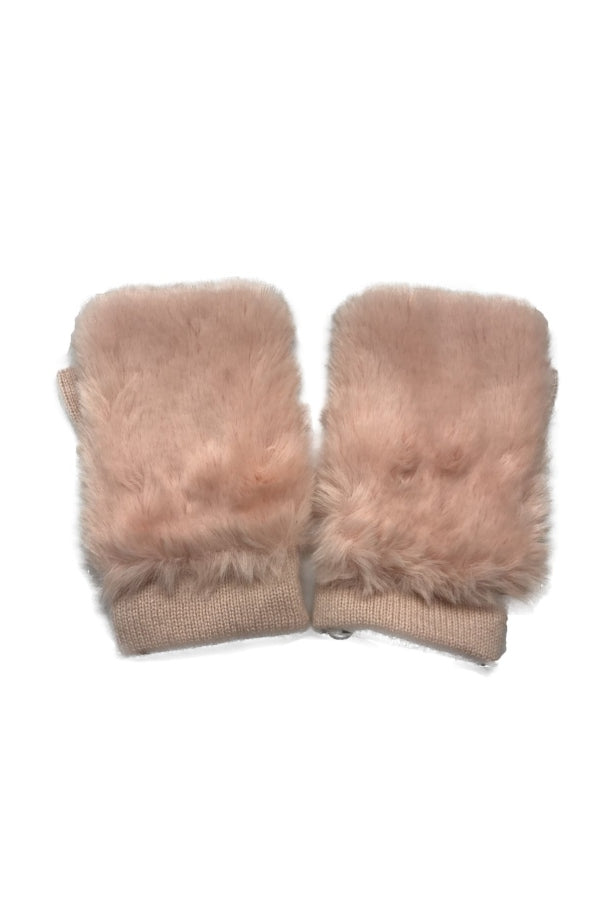 Rose Faux Fur Fingerless Glove