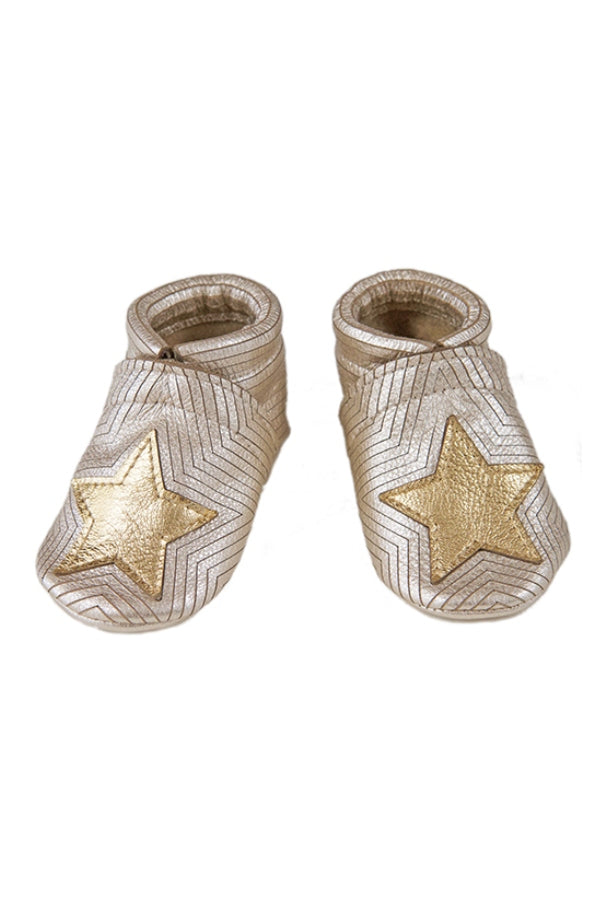 Gold Star Leather Baby Booties