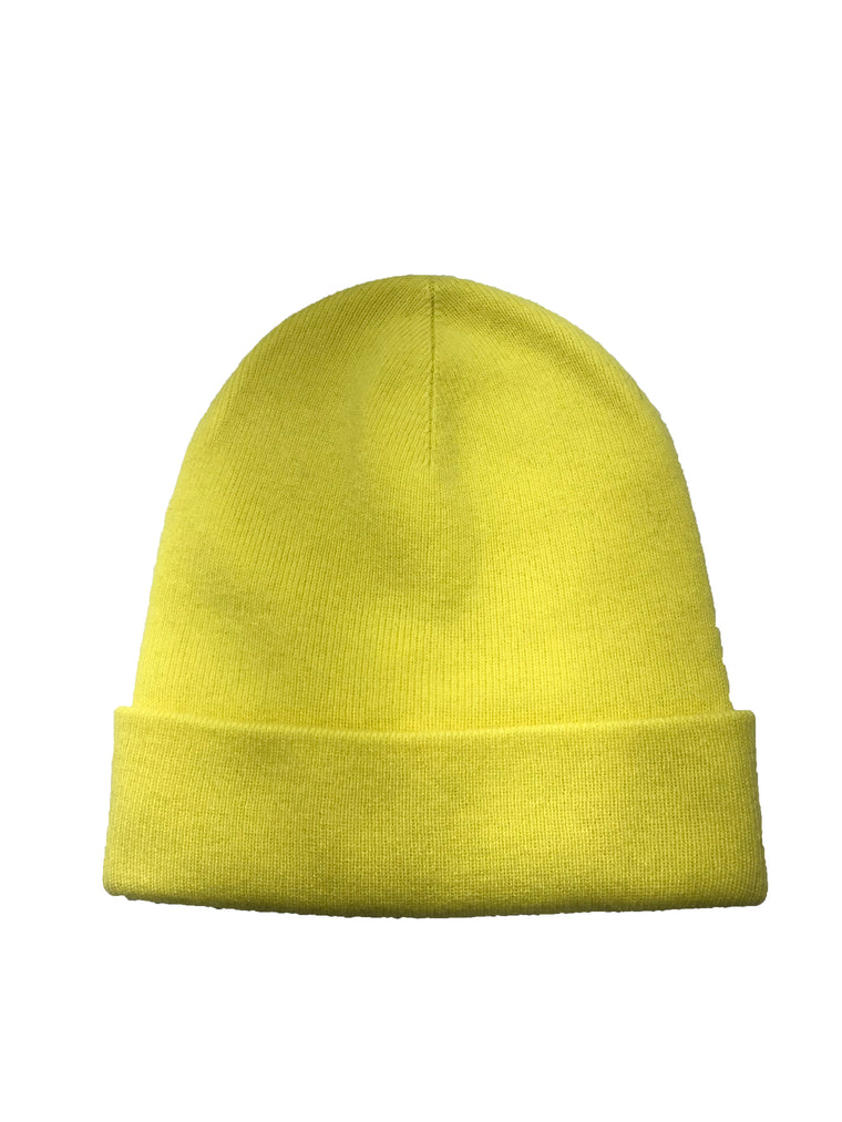 Yellow Cashmere Beanie Hat
