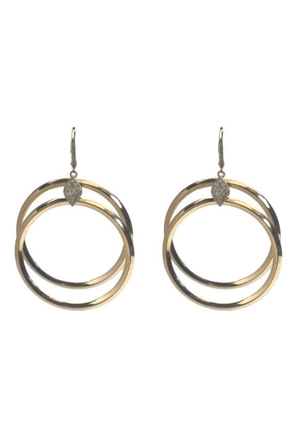 Gold & Diamond Double Hoop Earring