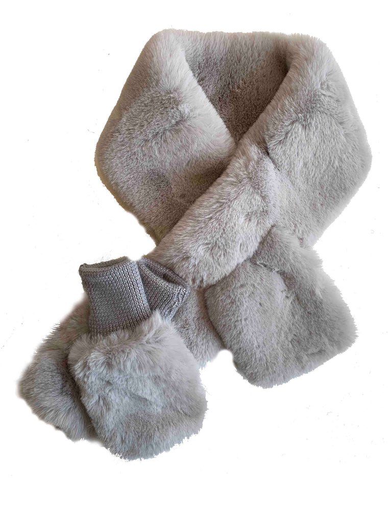 Jocelyn Grey Faux Fur Pull Thru Scarf & Mittens Set