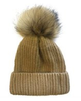 Tan Ribbed Pom Pom Hat
