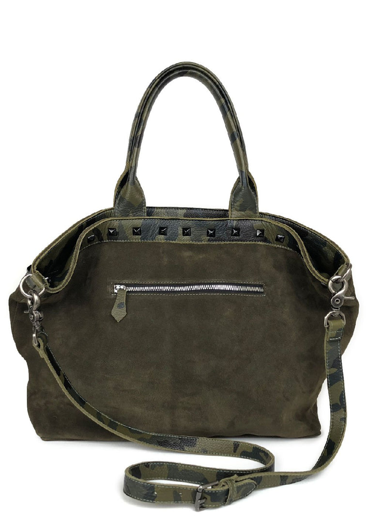 Manhattan Studded Suede Satchel Olive