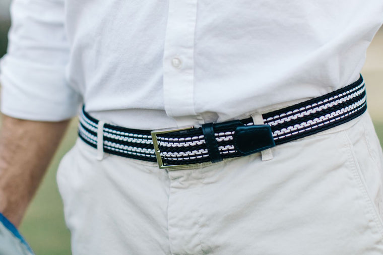 Men's Blue & White Elastic Stretch Belt