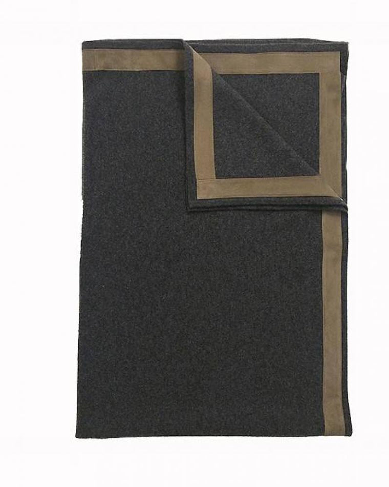 100% Cashmere Throw w/ Suede Border Charcoal